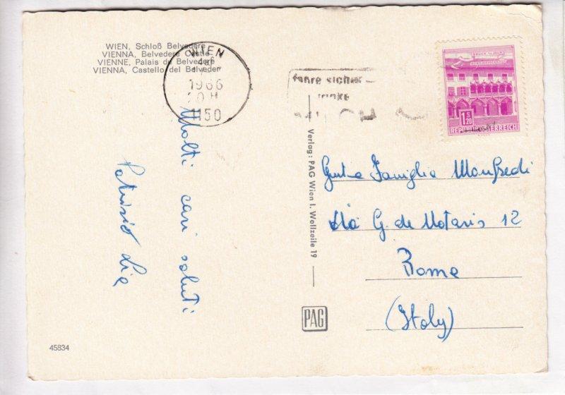 VIENNA, WIEN, Schloss Belvedere Castle, 1966 used Postcard