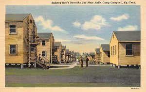 Military Post Card Enlisted Men's Barracks at Camp Campbell Kentucky, Te...