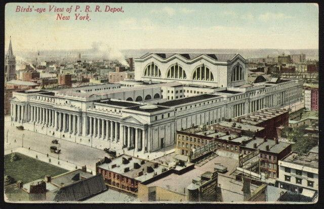 1912 birds'-eye view of Pennsylvania Railroad Depot in NYC color post card