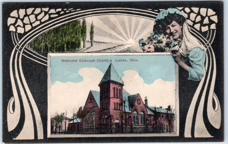 Lisbon, Ohio Postcard Methodist Episcopal Church Art Nouveau / Pretty Lady 191