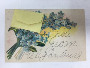 1908 A Note From Frelighsburg Quebec Canada Postcard Mini Letter Glitter