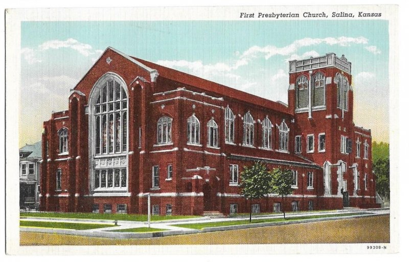 First Presbyterian Church, Salina, Kansas unused Curteich