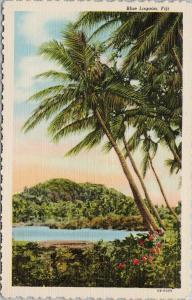 Blue Lagoon Fiji Huts Palm Trees UNUSED Vintage Linen Postcard D99