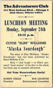 1956 CHICAGO Illinois Advertising Postcard THE ADVENTURERS CLUB Luncheon Meeting