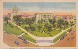 State Capitol Park Showing New Building Group Harrisburg Pennsylvania 1961