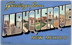 ALBUQUERQUE New Mexico Large Letter Postcard Curteich Linen c1940s Unused