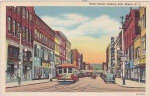 New York Elmira Water Street Looking East Trolley