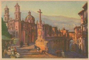 Oleo De Salvador Tarazona Taxco Cross Mexican Painting Postcard