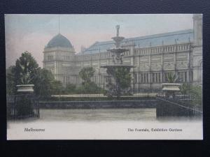 Australia MELBOURNE The Fountain in Exhibition Gardens - Old Postcard by V.S.M.