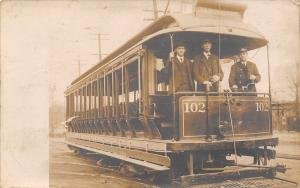 Real Photo Postcard~WABASH Open Air Trolley Train Car #102~Conductor~c1912 RPPC