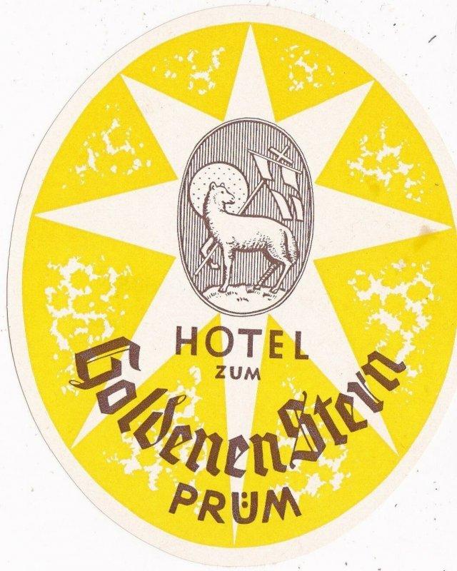 Germany Pruem Hotel Zum Goldenen Stern Vintage Luggage Label sk3203