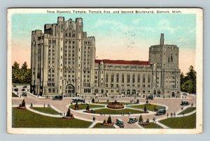 Detroit MI, New Masonic Temple, Vintage Michigan c1924 Postcard