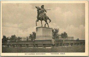 TRINIDAD Colorado Postcard KIT CARSON MONUMENT Statue View / Albertype c1940s