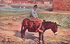 MEXICO~Señorita ON DONKEY~HOMEWARD BOUND FROM FOUNTAIN~SONORA NEWS PUBL POSTCARD