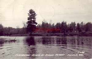 1949 RPPC - FLAMBEAU RIVER AT SIMONS RESORT, FIFIELD, WI swimmer in the water