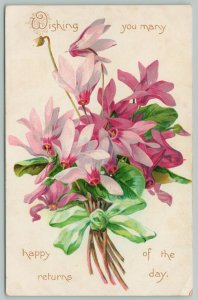 Flowers Greetings~Green Ribbon Tied Around Bouquet of Pink Lilies~c1910 Postcard