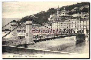 Old Postcard Grenoble Suspension Bridge