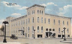 Sparta WI Chairs Outside the Italianate Sidney Hotel~Cornices~Square Tower c1910
