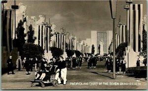 1939 GGIE SF World's Fair RPPC Real Photo Postcard Pacifica & Court of 7 Seas