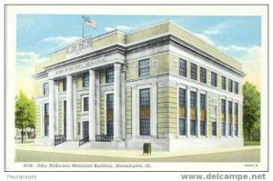 John McBarnes Memorial Building, Bloomington, Illinois, IL White Border