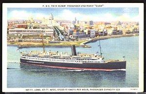 USA Postcard  P&O Lines Twin Screw Steamer SS Cuba