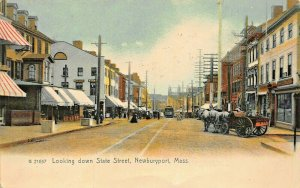 NEWBURYPORT MA~LOOKING DOWN STATE ST-STOREFRONTS~ROTOGRAPH TINTED PHOTO POSTCARD