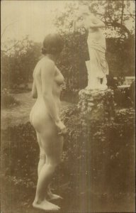 Nude Woman in Garden Sees Nude Statue c1910 Real Photo Postcard