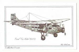 United Airlines Ford Tri-Motor 5-AT-D Roy Anderson Postcard