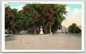 Warren PA~Monument @ Pennsylvania & Second Avenues~Rd to Shops~1920s Postcard