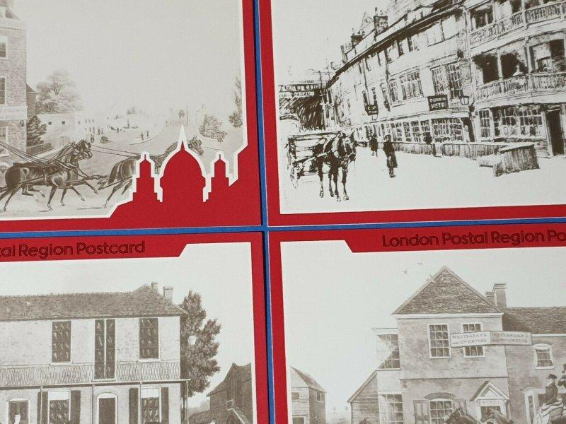 Set of 4 1984 Art Postcard, London Postal Region Mail Coaching Inns 1800s BU2