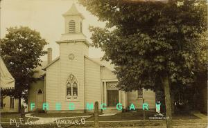 1911 Marengo OH RPPC: ME Church, Stained Glass Windows