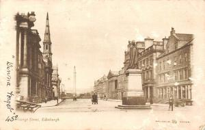 Edinburgh George Street, Statue, Monument, Carriage 1904