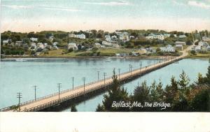 Belfast Maine~The Bridge~Homes Along the Hillside c1906 Postcard