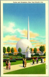 1939 NEW YORK WORLD'S FAIR Postcard Trylon & Perisphere Curteich Linen 9A-H154