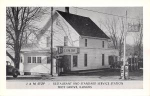Troy Grove IL~J & M Stop~Cafe~Standard Service Gas Station~Telephone~1940s Cars