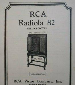 RCA Radiola 82 Vintage Original 1930 Service Notes Manual Radio Victor 12 Pages