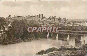 Old Postcard Cite in Carcassonne Aude La Cite and the two Bridges