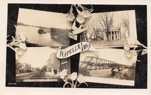 Wapello IA~Main Street~Wagon Thru Truss Bridge~Court House~Art Nouveau~1910 RPPC
