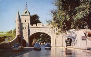 Quebec Canada~Porte St Louis~Stone Gate~Tour Guides Sign~1950s Cars~Postcard