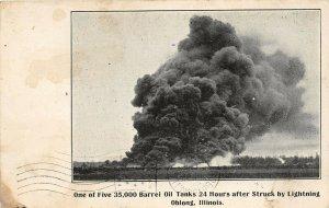 F47/ Oblong Illinois Postcard c1910 Oil Tank Fire Disaster 35k Barrels