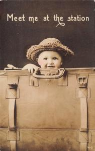 Real Photo Postcard~Cute Baby in Huge Suitcase~Meet me at the Station~c1912 RPPC