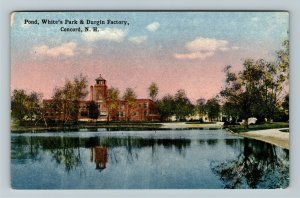 Concord NH-New Hampshire Pond, White's Park, Durgin Factory, Vintage Postcard