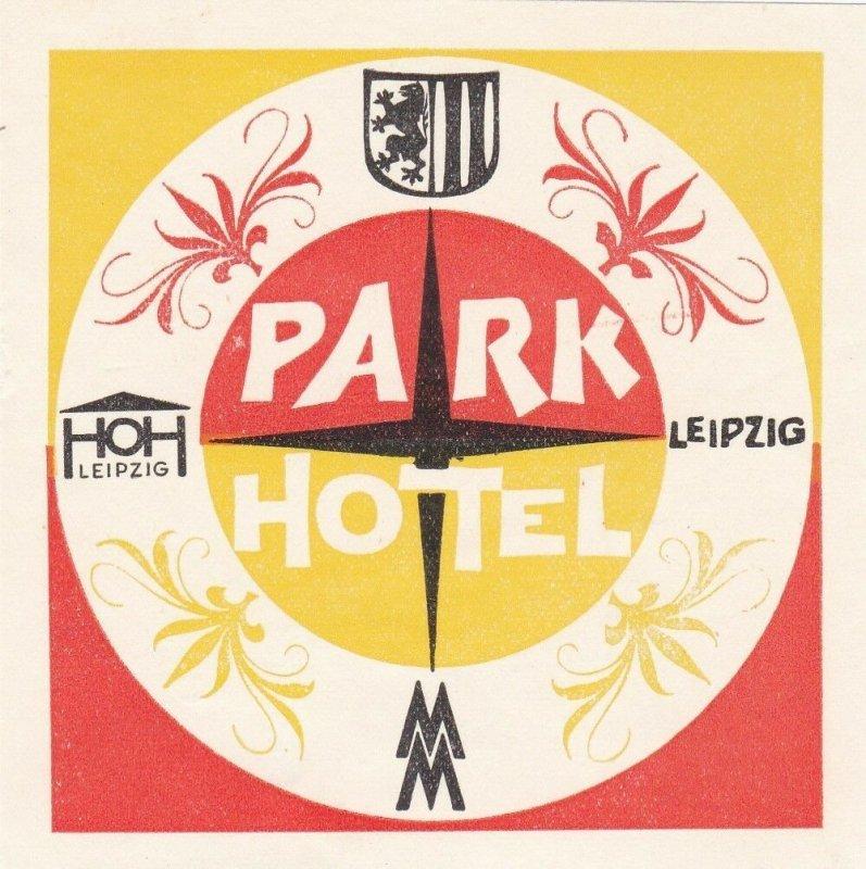 Germany Leipzig Ho Hotel Park Vintage Luggage Label sk2900