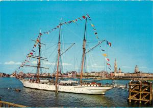 Mercator barquentine ship Antwerp Belgium Postcard