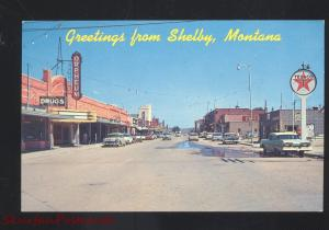 SHELBY MONTANA DOWNTOWN MAIN STREET SCENE 1950's CARS VINTAGE POSTCARD