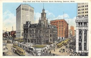 Detroit Michigan~City Hall And First National Bank Building~1925 Postcard