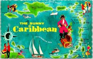 1960s Vintage Sunny Caribbean Map Postcard Jamaica Haiti D.R. Puerto Rico USVI