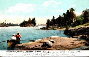 New York Thousand Islands Pituresque Scene Couple In Canoe
