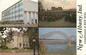 New Albany Indiana~Four Scenes of City~Bob  Real For Mayer Ad 1960s Postcard