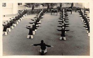 RPPC Swedish Exercise, Coronado Island, CA Naval Training 1916 Vintage Postcard
